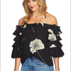 Floral Off Shoulder Floral Tier Ruffle Sleeves Top